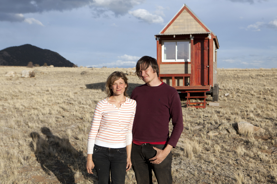 Photo credit: Kevin Hoth Filmmakers Christopher Smith and Merete Mueller in front of the 130-square foot Tiny House that they built from scratch in the Colorado mountains, as part of their documentary TINY: A Story About Living Small.